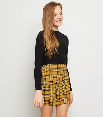 Girls Mustard Check Tube Skirt