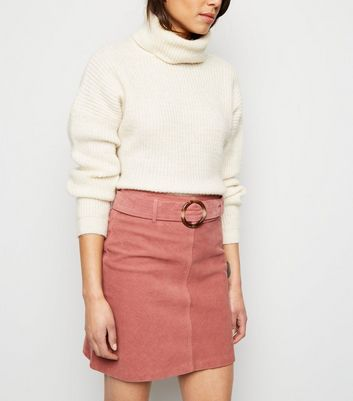 Mid Pink Resin Buckle Belted Corduroy Skirt