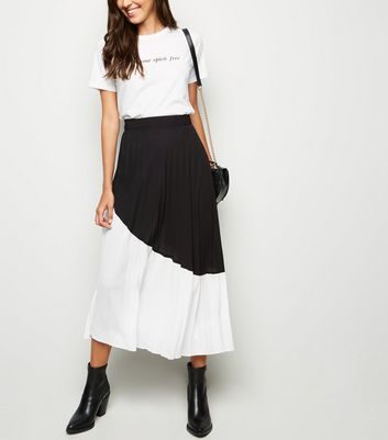 Black Monochrome Block Pleated Midi Skirt