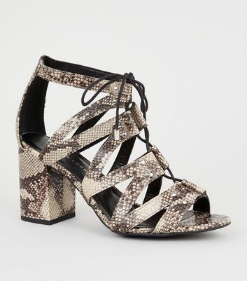 Wide Fit Stone Faux Snake Ghillie Block Heels