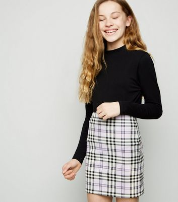 Girls Lilac Check Tube Skirt