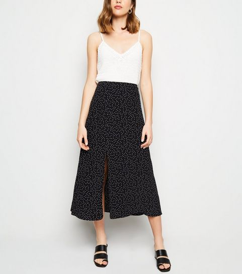 b8d8d9bbda ... Black Spot Print Split Side Midi Skirt ...