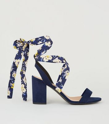 Wide Fit Blue Floral Ankle Tie Block Heels