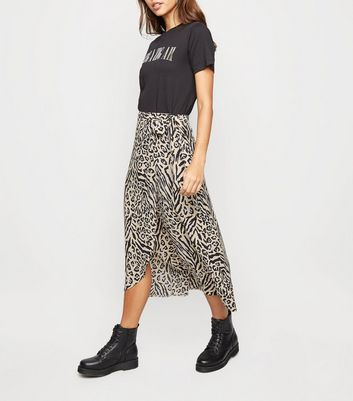 Cream Animal Print Wrap Midi Skirt
