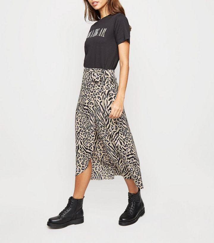 67ec77b79 Cream Animal Print Wrap Midi Skirt | New Look