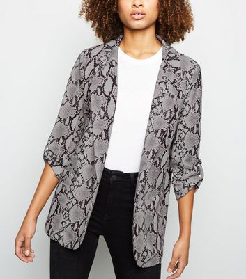 Light Grey Snake Print Blazer