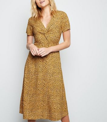 Yellow Animal Print Knot Front Midi Dress