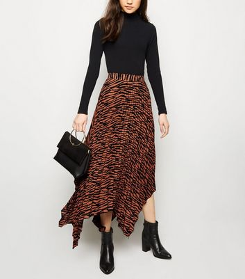 Brown Zebra Print Hanky Hem Pleated Midi Skirt