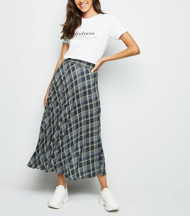 a9e16e2e05 Black Check Print Pleated Midi Skirt | New Look