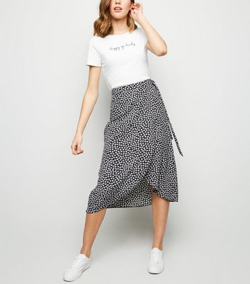 Black Ditsy Floral Wrap Midi Skirt