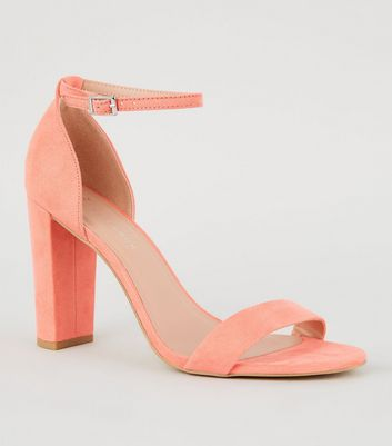 Wide Fit Coral Suedette Block Heels