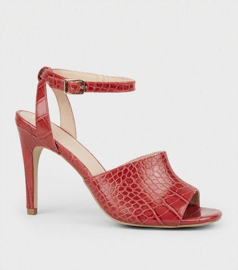 47bc9ab9320d ... Dark Red Faux Croc Stiletto Heels ...
