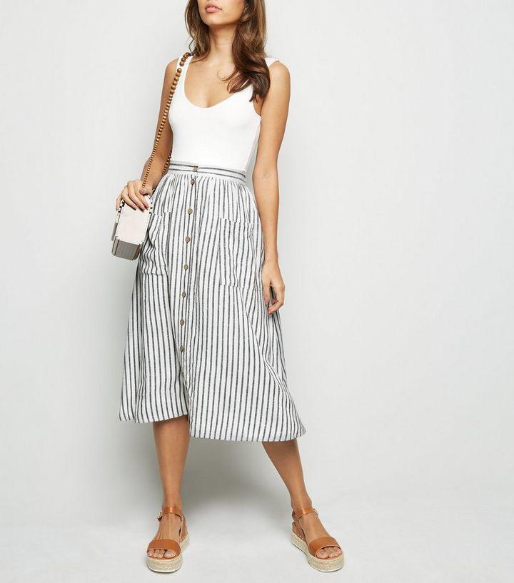 ca06c6c926 Off White Stripe Linen Blend Midi Skirt | New Look