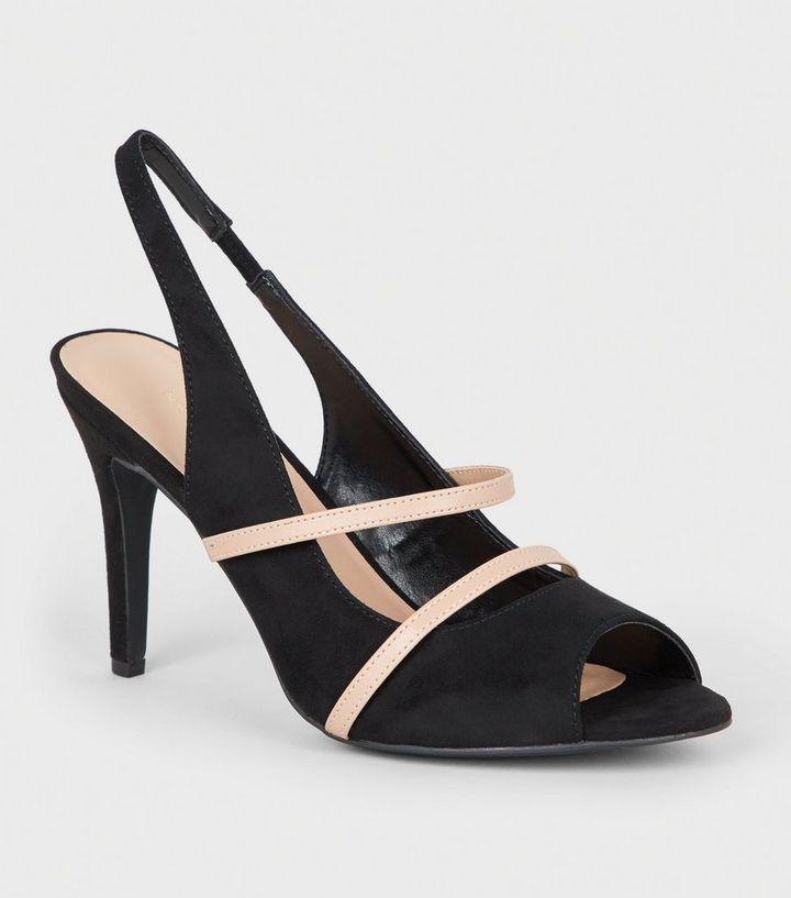 345e559755d Black Contrast Strap Peep Toe Stiletto Slingbacks