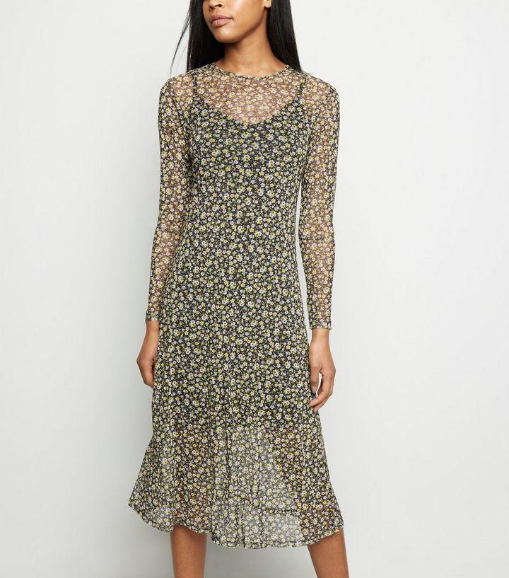 319bd29693 Black Ditsy Floral Mesh Midi Dress