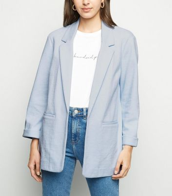 Pale Blue Crosshatch Blazer