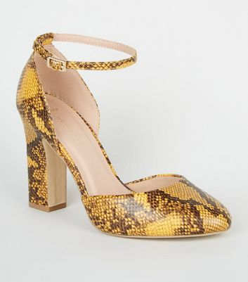 Wide Fit Yellow Faux Snake Block Heels