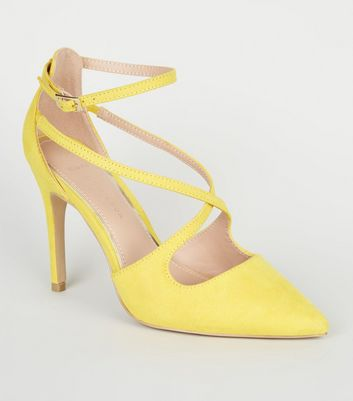 Wide Fit Yellow Suedette Strappy