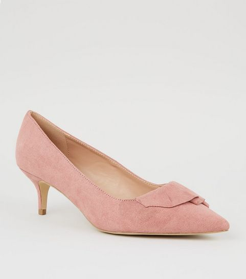 d176212b5475 Wide Fit Pink Pleated Trim Kitten Heels