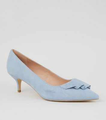 Wide Fit Pale Blue Pleated Trim Kitten Heels