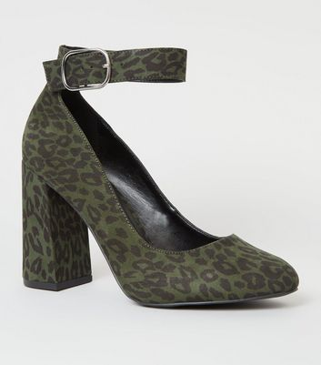 Wide Fit Khaki Leopard Print Ankle Strap Courts