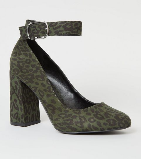 ... Wide Fit Khaki Leopard Print Ankle Strap Courts ... 52fb564ce4