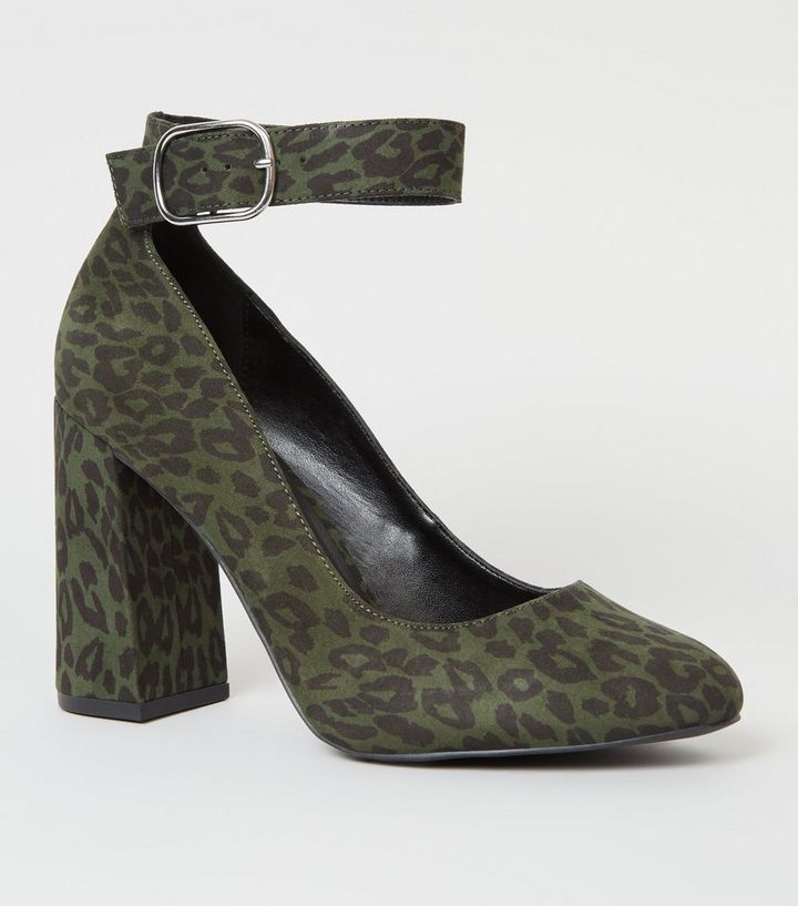 7d35fb478f73 Wide Fit Khaki Leopard Print Ankle Strap Courts | New Look