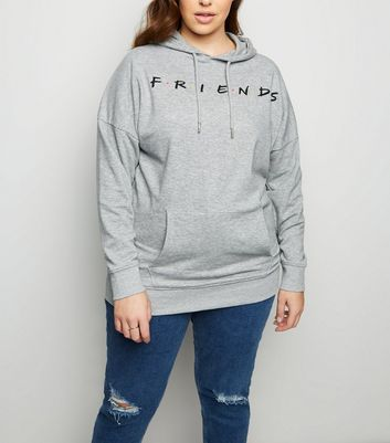 Curves Grey Friends Oversized Logo Hoodie