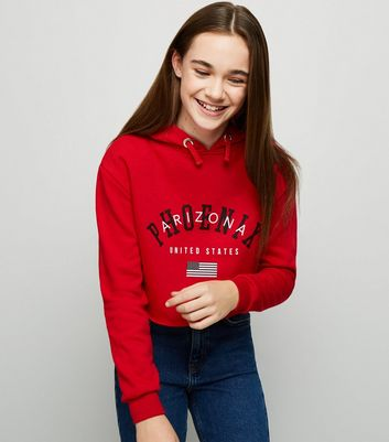 Girls - Sweat rouge à slogan « Arizona »