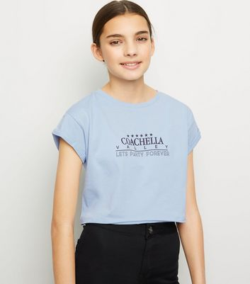 Girls Pale Blue Coachella Slogan T-Shirt
