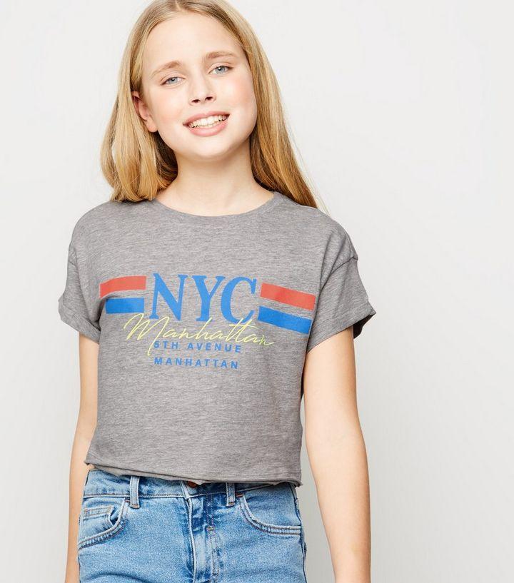 620590648ea Girls Grey NYC Slogan Cotton T-Shirt | New Look