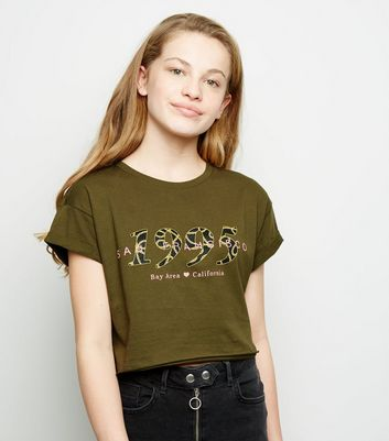 Girls Khaki 1995 Chain Slogan T-Shirt