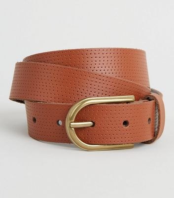 Tan Leather Perforated Belt