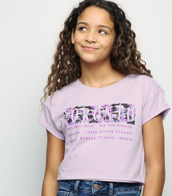 Girls Lilac Toronto Slogan Camo Box T-Shirt