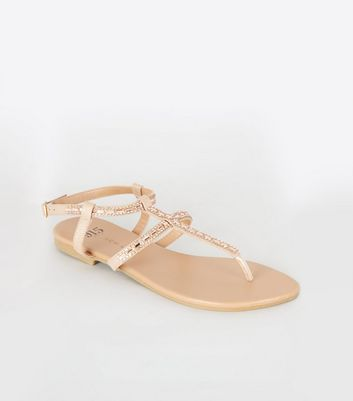 Girls Nude Diamanté Strap Flat Sandals