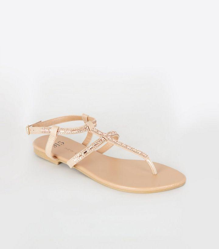 09291948ff85 Girls Nude Diamanté Strap Flat Sandals
