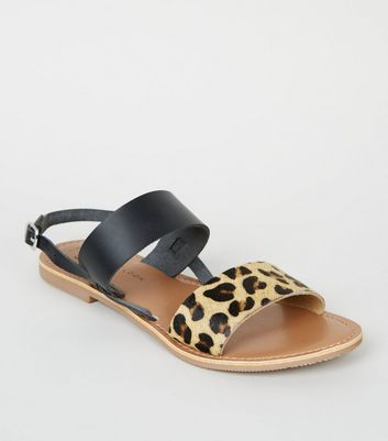 Girls Stone Leather Faux Leopard Strap Sandals