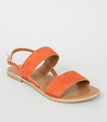 Girls Orange Suede 2 Strap Sandals
