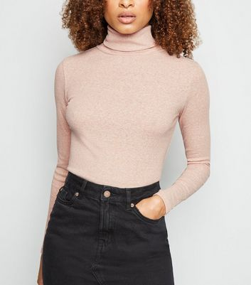 Cream Ribbed Roll Neck Long Sleeve Top