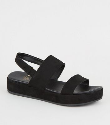 Girls Black Suedette 2 Part Flatform Sandals