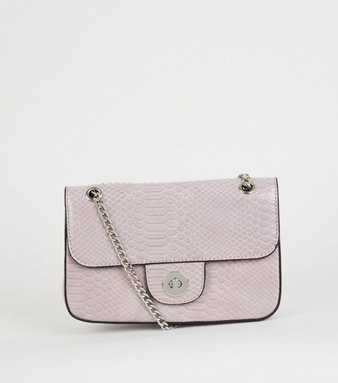 92e2aed00c ... Lilac Faux Croc Chain Shoulder Bag ...