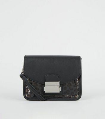 Black Leather-Look and Leopard Print Clear Bag