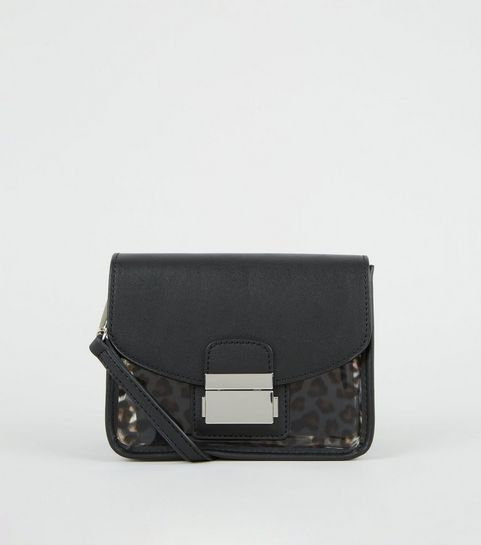 ... Black Leather-Look and Leopard Print Clear Bag ... c20d3f93623a8