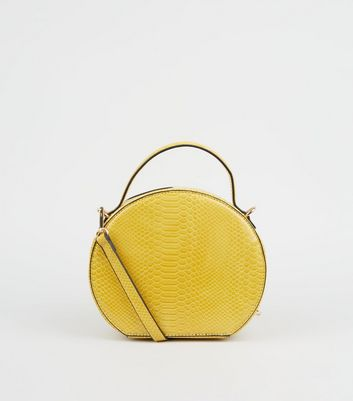 Yellow Faux Snake Round Bag