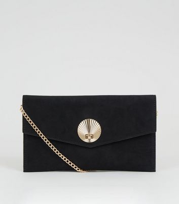 Black Suedette Shell Disc Clutch Bag