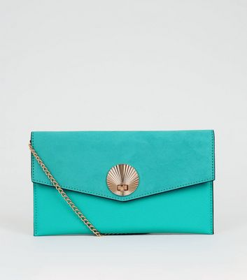 Turquoise Suedette Shell Disc Clutch Bag