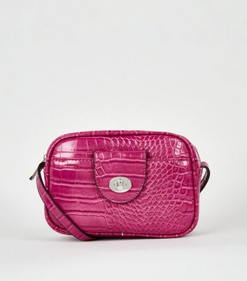 Bright Pink Faux Croc Camera Bag
