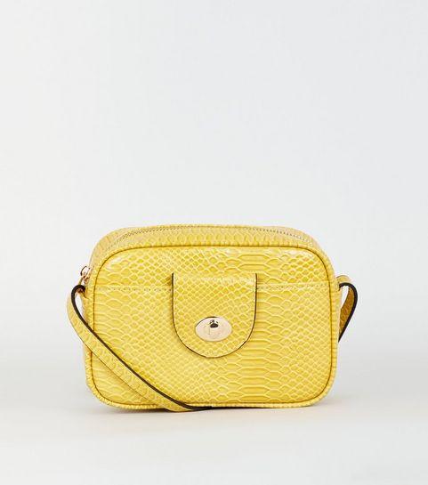 4b497d522d6a ... Mustard Faux Snake Camera Bag ...
