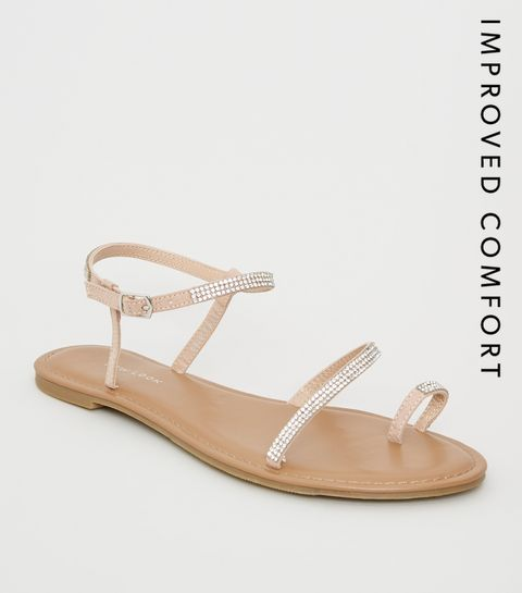 8f69f8ded1462d Nude Diamanté Strap Sandals · Nude Diamanté Strap Sandals ...