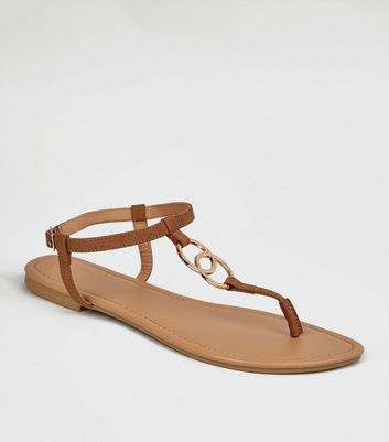 Tan Linked Ring Strap Flat Sandals